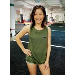 MFN Women's Muscle Scoop Tank - Military Green