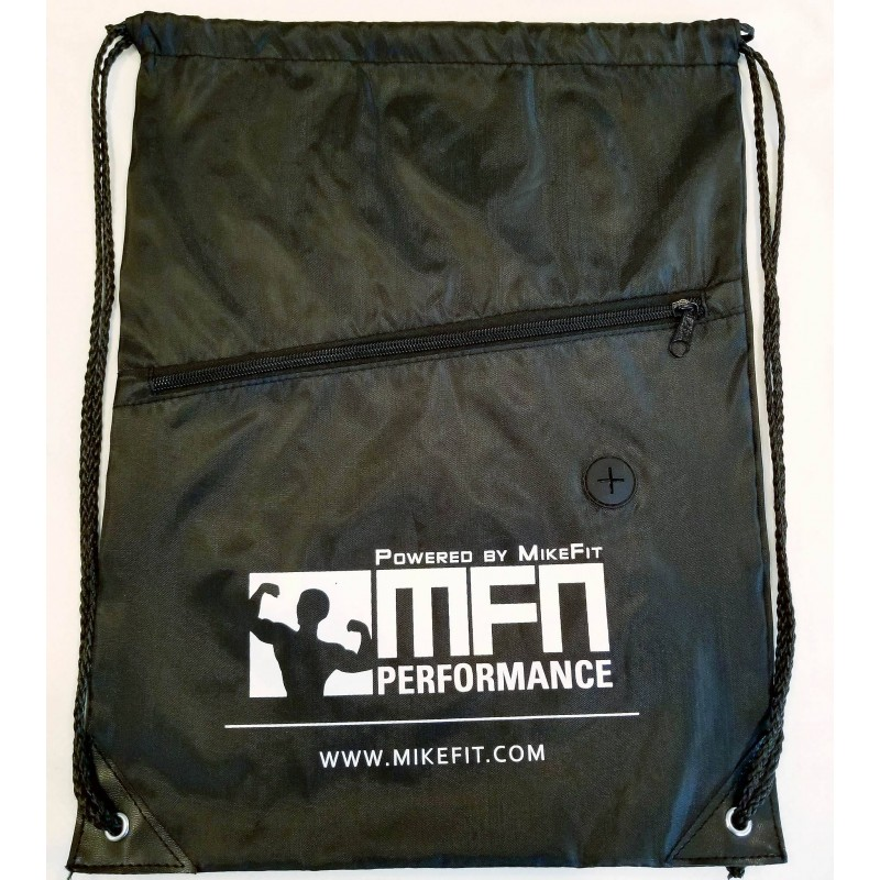 MFN Drawstring Bag w/Ear Port & Zipper (Black)
