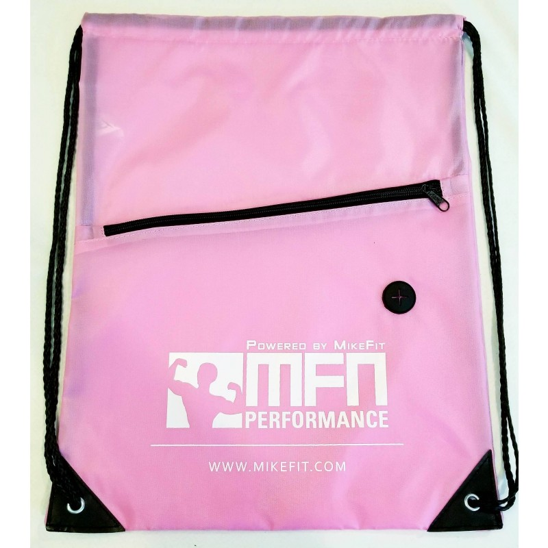 MFN Drawstring Bag w/ Ear Port & Zipper Pocket (Pink)