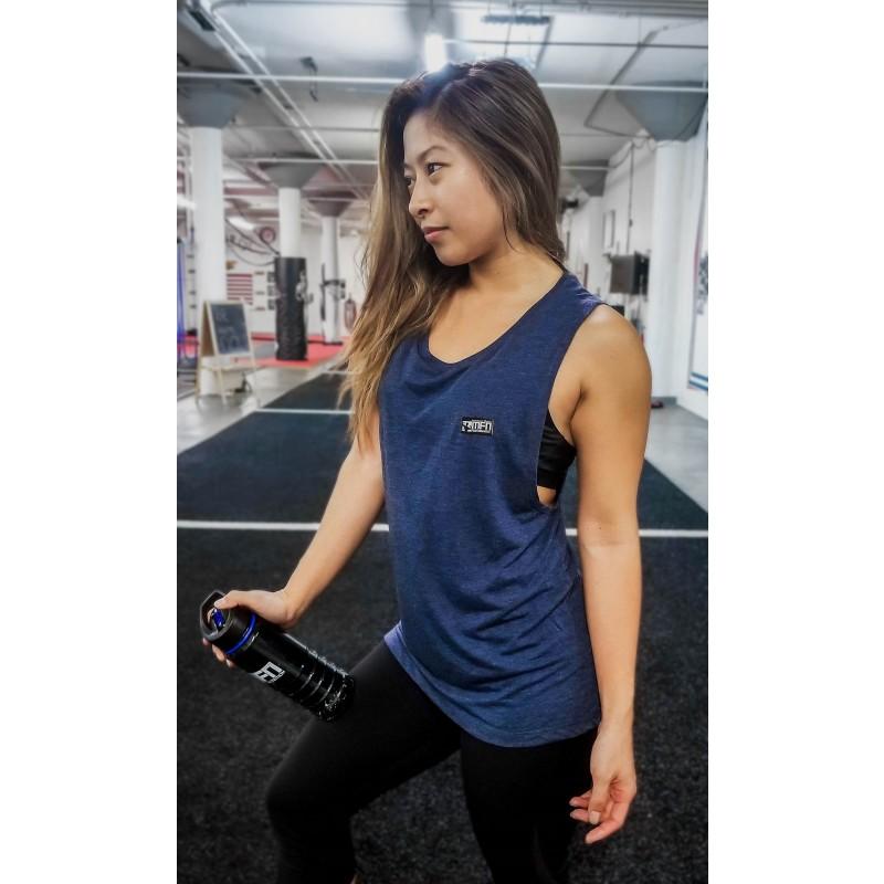 MFN Women's Muscle Scoop Tank - Navy Blue