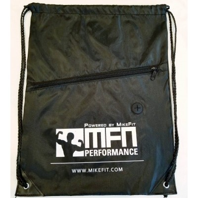 MFN Drawstring Bag w/ Ear Port & Zipper Pocket (Black)