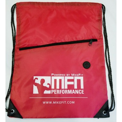 MFN Drawstring Bag w/ Ear Port & Zipper Pocket (Red)