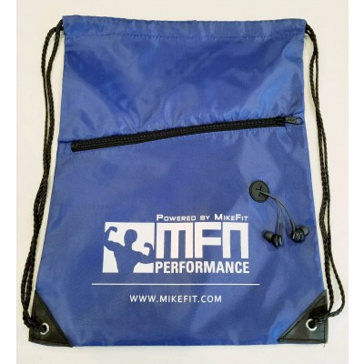 MFN Drawstring Bag w/ Ear Port & Zipper Pocket (Blue)