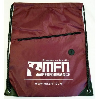 MFN Drawstring Bag w/ Ear Port & Zipper Pocket (Maroon)