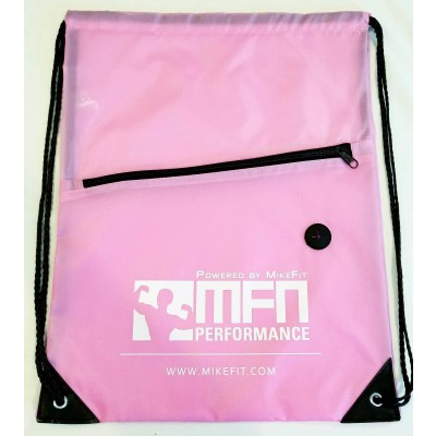 MFN Drawstring Bag w/ Ear Port & Zipper Pocket (Pink)