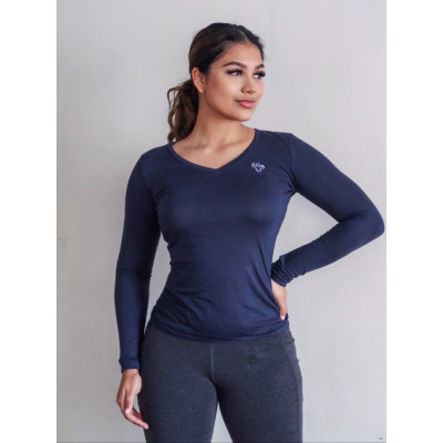 MFN Women's V-Neck Long Sleeve - Navy Blue