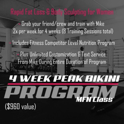 PEAK BIKINI 4-WEEK /8 Sessions Women's Personal Training Program - 1 to 4 people - Group Discount Available