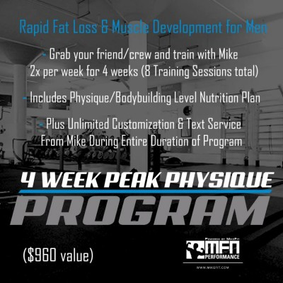 PEAK PHYSIQUE 4-WEEK /8 Sessions Men's Personal Training Program - 1 to 4 people