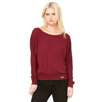 MFN Womens Off-Shoulder Tee - Maroon