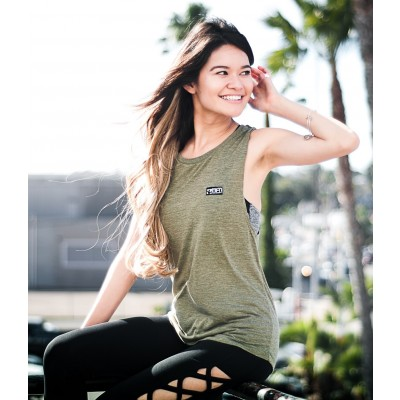 MFN Women's Muscle Scoop Tank - Olive (Size Small : 2-4)