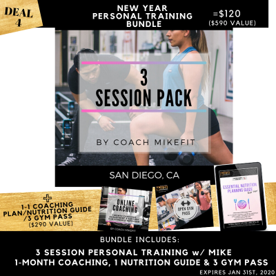 3 Personal Training Session New Year Bundle w/Mike (San Diego)
