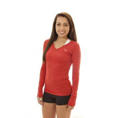 MFN Women's V-Neck Long Sleeve PRO - Red