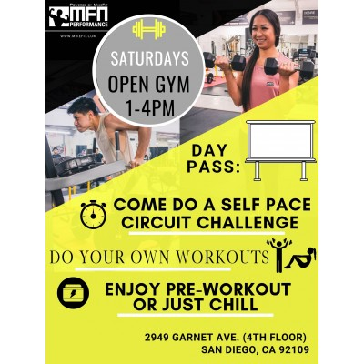 Day Pass (Open Gym Saturdays 1 - 5pm) *Please Click To View August Dates